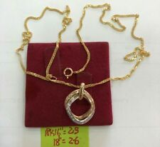 """GoldNMore: 18K Gold Necklace with Two Tone Pendant 18"""" Chain"""