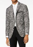 INC NEW Black Mens US Size Large L Slim Fit Patterned Two Button Blazer $149 066
