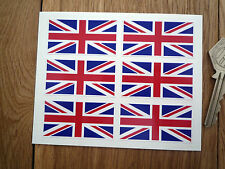 Set of 6 Union Jack 50mm Flag Car or Bike Stickers Motorsport Great Britain Race