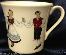 FIGGJO FLINT NORWAY HARDANGER DANCERS SET OF 2 FLAT CUPS 7 OZ