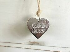 metal plaque heart shape hanging. with love script silver aluminium 70mm x 70mm