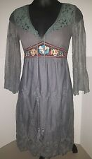 FLYING TOMATO Embroidered boho Peasant Dress Semi-Sheer lace Long Sleeve small