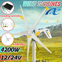12V/24V 3700W/4200W 3/5 Blades Wind Turbine Generator Power + Charge Controller