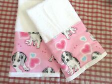 "Sweet Puppies in Pink on White Hand Towels  /2  16"" x 27"""