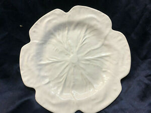 "BORDALLO PINHEIRO EMBOSSED WHITE CABBAGE 12 1/4"" CHOP PLATE FROG LABEL ON BACK"