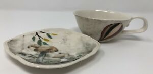 Anthropologie Rebecca Rebouche Set Teacup Saucer Plate Patch of Shade LAST ONE