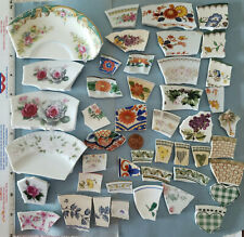 Broken ~ MIXED ~ China Plate Mosaic Tiles ~ Focals ~ Gems ~ Stained Glass