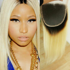 100%16INCHES Brazilian Virgin Human Hair Straight Lace Closure 1b/613# Root 12A
