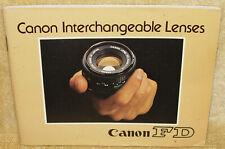 Original VINTAGE CANON FD CANON INTERCHANGEABLE LENSES GUIDE Book BOOKLET Japan