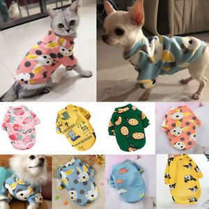 Cute Cartoon Print Pet Dog Cat Clothes T-shirt Coat Puppy Chihuahua Warm Sweater