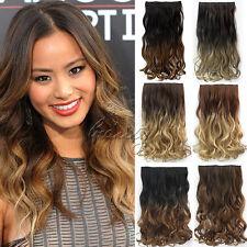 """24"""" 60CM Extension A Clips De Cheveux Ombre One Piece Hair Extensions 6 Couleurs"""