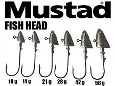 FISH HEAD JIG HEADS ON 8/0 MUSTAD  BIG GAME HOOKS.3 PCS.10-56g 5 WEIGHT OPTIONS.