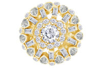 18K Yellow Gold 5.56ctw Round & Baguette Diamond Waterfall Cluster Ring