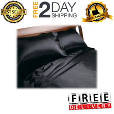 King Size Sheets 4 Piece Satin Black Luxury Flat Fitted Sheet Set Pillowcases