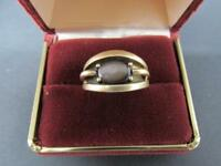 14k Solid Yellow Gold Black Star Sapphire Men's Ring With Shadow Box Setting