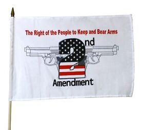 """2nd Amendment White 12"""" x 18"""" Stick Flag"""