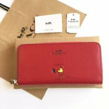Coach Snoopy Peanuts Round Zipper Long Wallet Leather RED