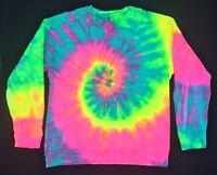New Tie Dye Rainbow Seafoam Long Sleeve Crewneck Sweatshirt Unisex Size Medium