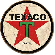 """Texaco Gasoline 1936 Logo 12"""" Round Tin Sign Nostalgic Metal Sign Retro Decor"""