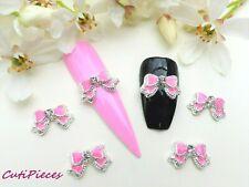 3D Nail Art Valentines *Pink & Silver Rhinestone Bow Tie* Alloy Metal Decoration