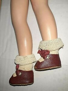 """Vintage Red Oil Cloth Doll Shoes,Silk RibbonTies,NR on10""""doll legs Free arms/eg."""