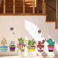 Colorful Pot Plants Flowers Wall Stickers Vinyl Decal Kids Bedroom Nursery Decor