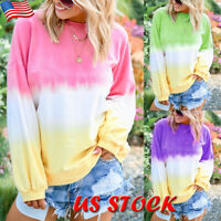 Women's Gradient Color Long Sleeve T-shirt Top Ladies Casual O Neck Loose Blouse