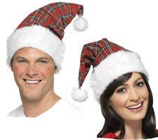 Adult Novelty Father Christmas Tartan Santa Hat Fancy Dress Accessory W41 186