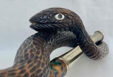 More details for fine 19th century japanese enamel kiseru pipe with signed snake & frog holder.