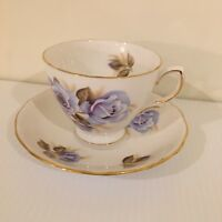 Crown Royal England Fine Bone China Tea Cup Saucer Blue Roses