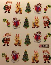 Nail Art Water Decals Christmas Tree Snowman Santa Candycane Reindeer BLE912