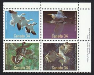 Birds = Owl, Heron, Grouse, Goose = Canada 1986 # 1098a MNH UR BLOCK OF 4
