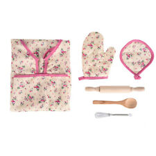 6Pcs Kids Cooking And Baking Set Kitchen Costume Pretend Role Play Kit Apron NEW