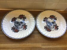 More details for royal essex skulls dinner plates.x2.new.halloween.