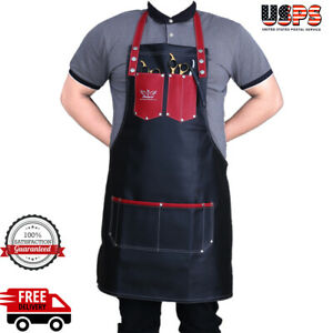 Professional Leather Apron Women Men Barber Waterproof Aprons Red New