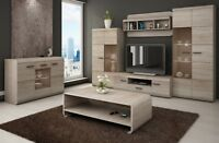 Living room furniture set glass cabinet TV unit stand display LED lights shelf