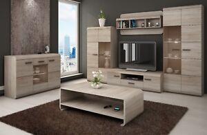 LIVING ROOM SET LINK SONOMA OAK DISPLAY UNIT TV CABINET LED STORAGE SIDEBOARD