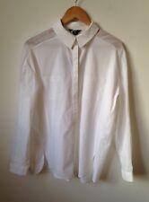 TU White Shirt UK12 Premium Collection Mesh Panels Sleeve Cotton Smart Work Look