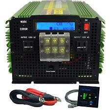 3500W 7000 Watt Power Inverter Pure Sine Wave 12V dc to 110V 120V ac LCD Remote