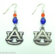Auburn AU Earrings Silver Navy Orange Beads Tigers Licensed Logo Jewelry New