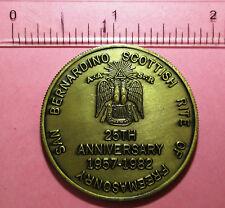 San Bernardino Scottish rite of Freemanship 25th anniversary 1957-1982 coin