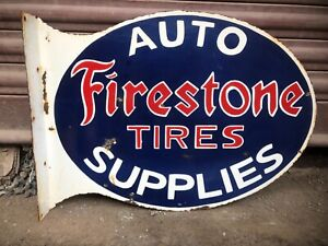 Firestone Auto Supplies Tires Porcelain 2Sided With Flange Enamel Sign
