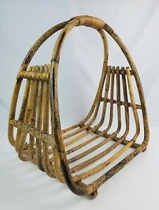 True Vintage Bamboo Rattan Open ended Firewood Tote Flower Fruit Basket