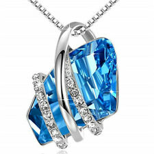 Ladies Fashion 925 Silver Plated Sky Blue Crystal White Zircon Necklace Jewelry