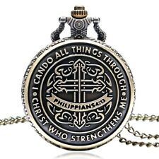 """! What'S In Your Pocket? Christian Vintage """"Philippians 4:13"""" Pocket Watch"""