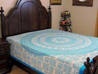 Turquoise Blue Mandala Cotton Bedding Elephant Wall Tapestry Bed Sheet ~ Full