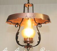 Decken Lampe wie Petroleum Kupfer 60s Kaiser Rustikal Schmiedeeisen Glas Vintage