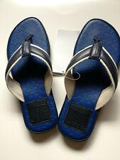 Coach MEN MAK Embossed Signature PVC with Leather Trim Navy Blue Beach Sandals