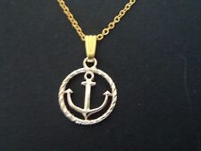GORGEOUS GIRLS GOLD ROUND NAUTICAL THEMED ALLOY CHARM PENDANT  NECKLACE.