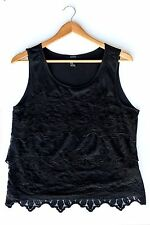 Forever 21 Black Layered Lace Sleeveless Top Preloved  - Size M